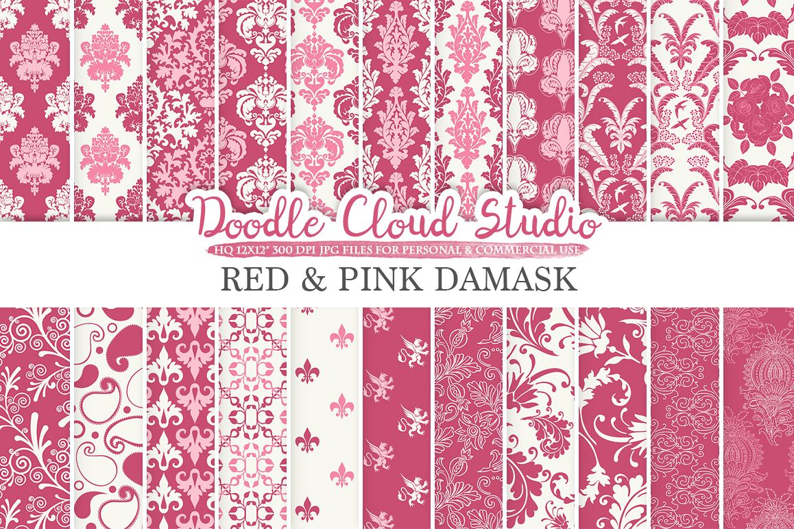 Red And Pink Damask Digital Paper Purple Wine Swirls Patterns Fl Background For Personal