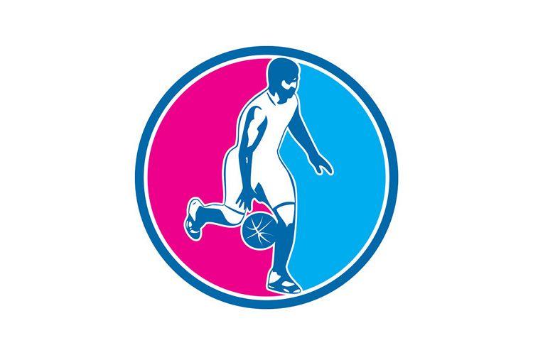 Basketball Player Dribbling Ball Circle Retro example image 1