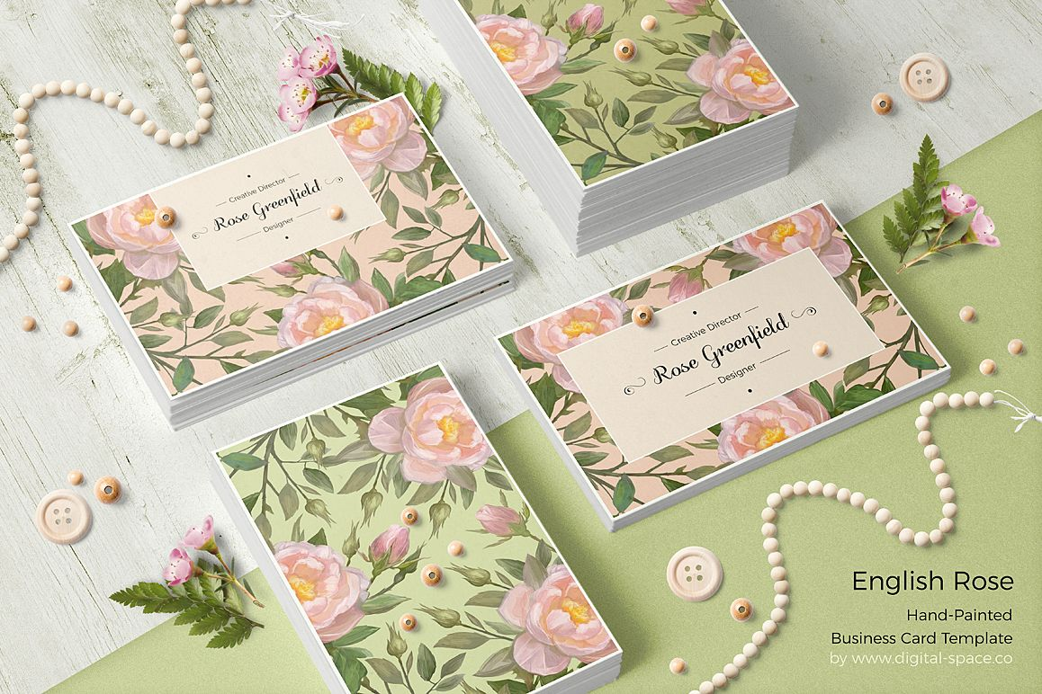 English Rose PSD Business Card Template example image 1