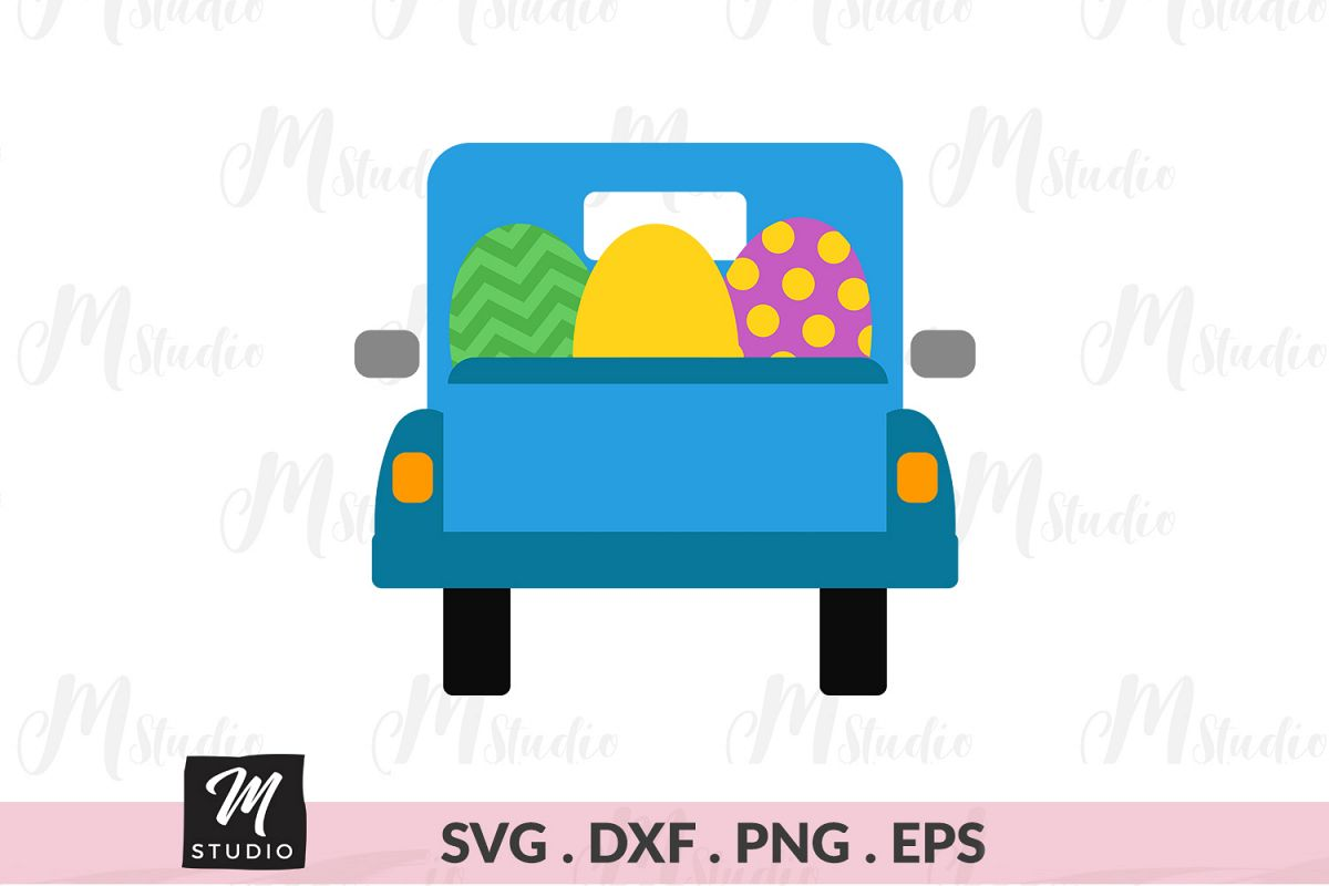 Easter Truck Eggs back svg. example image 1