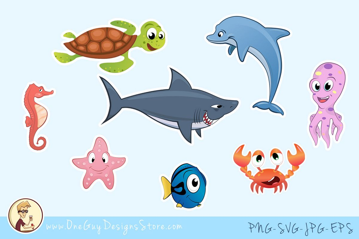 Sea Animals Clipart, Underwater Life, Cute Characters example image 1