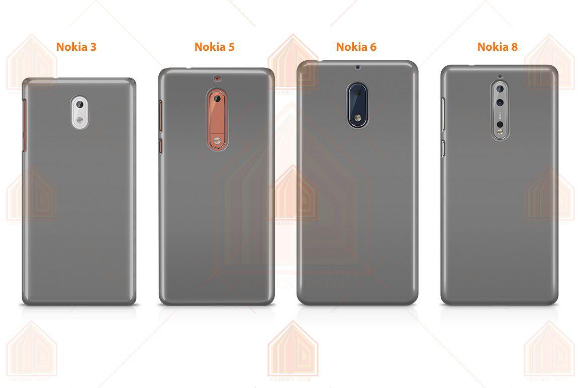 Nokia 3-5-6-8-3D Case Design Mockup Back View example image 1