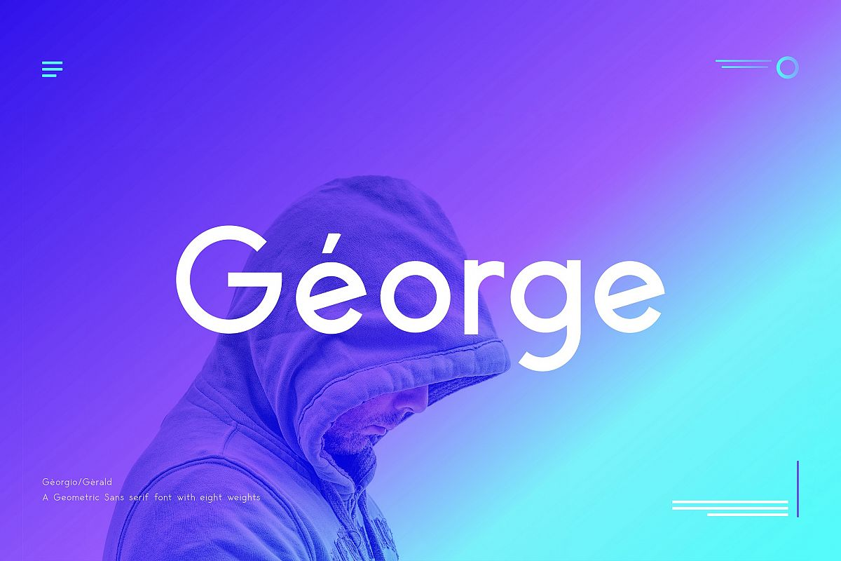 George Sans - 8 Fonts Geometric Typeface example image 1