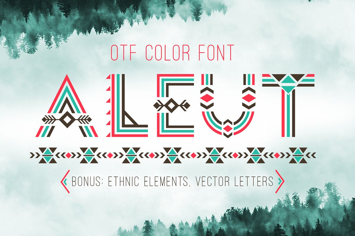 Tribal Aleut OTF color font.  example image 1