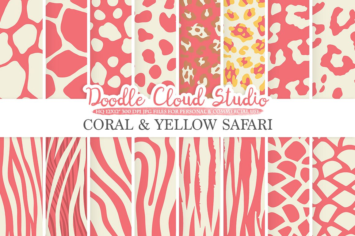 Coral and Yellow Animal Safari digital paper Pink Fur patterns Giraffe Zebra Leopard Snake Tiger backgrounds for Personal & Commercial Use example image 1