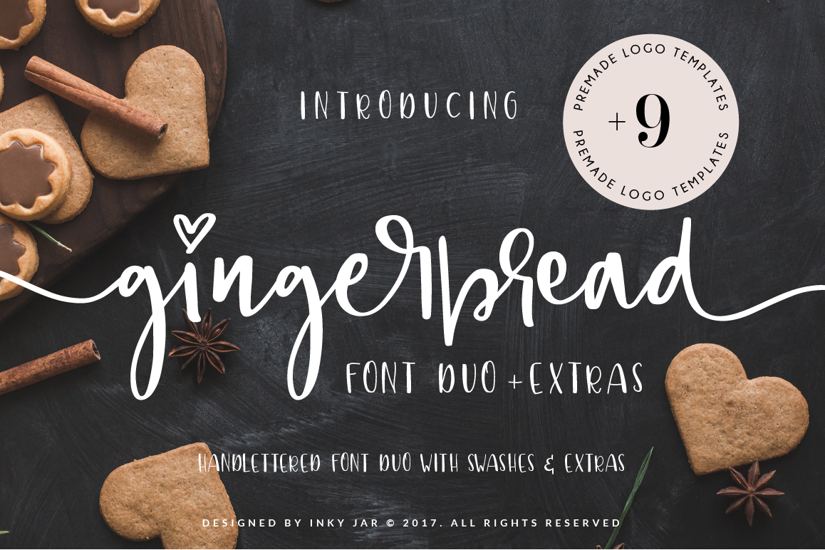 Gingerbread Font Duo 9 Premade Logo templates example image 1