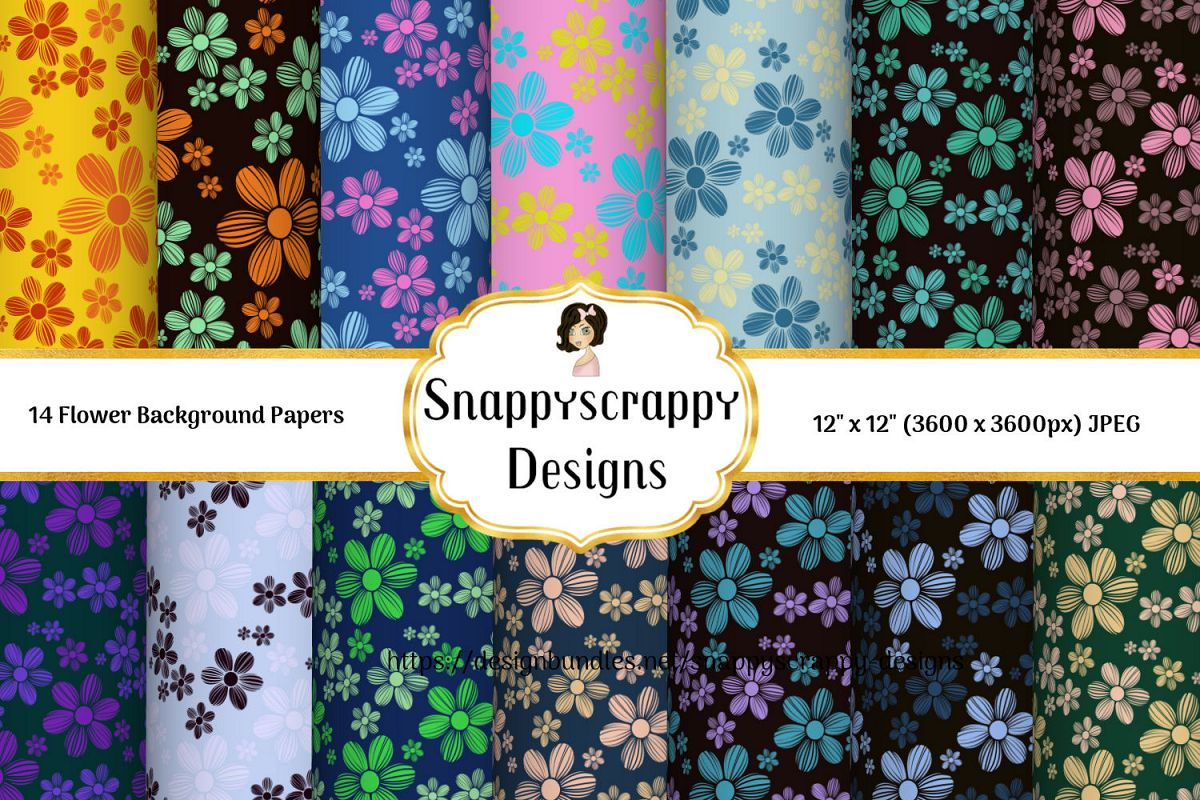 Floral Background Papers example image 1