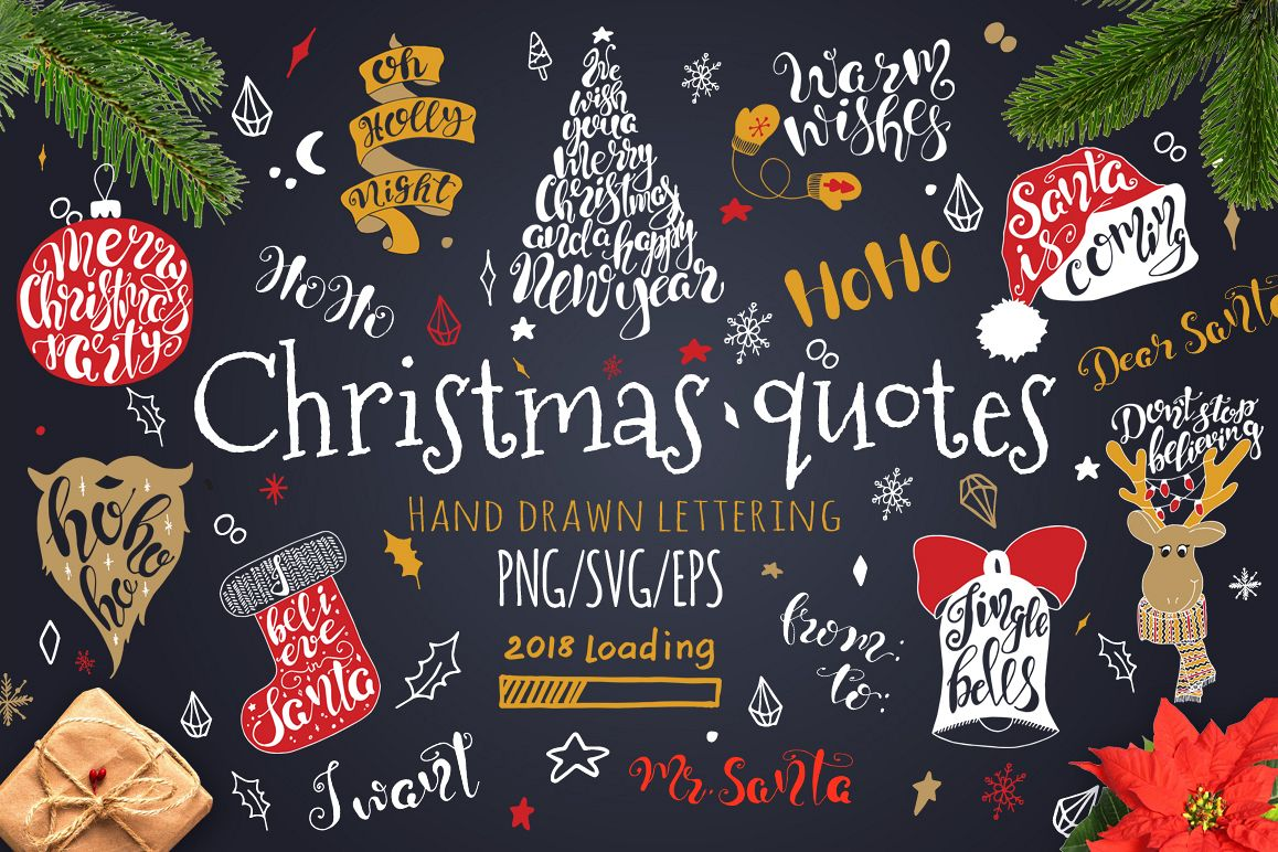 Merry Christmas quotes Lettering set example image 1