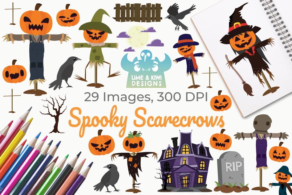 Spooky Scarecrows Clipart, Instant Download Vector Art example image 1
