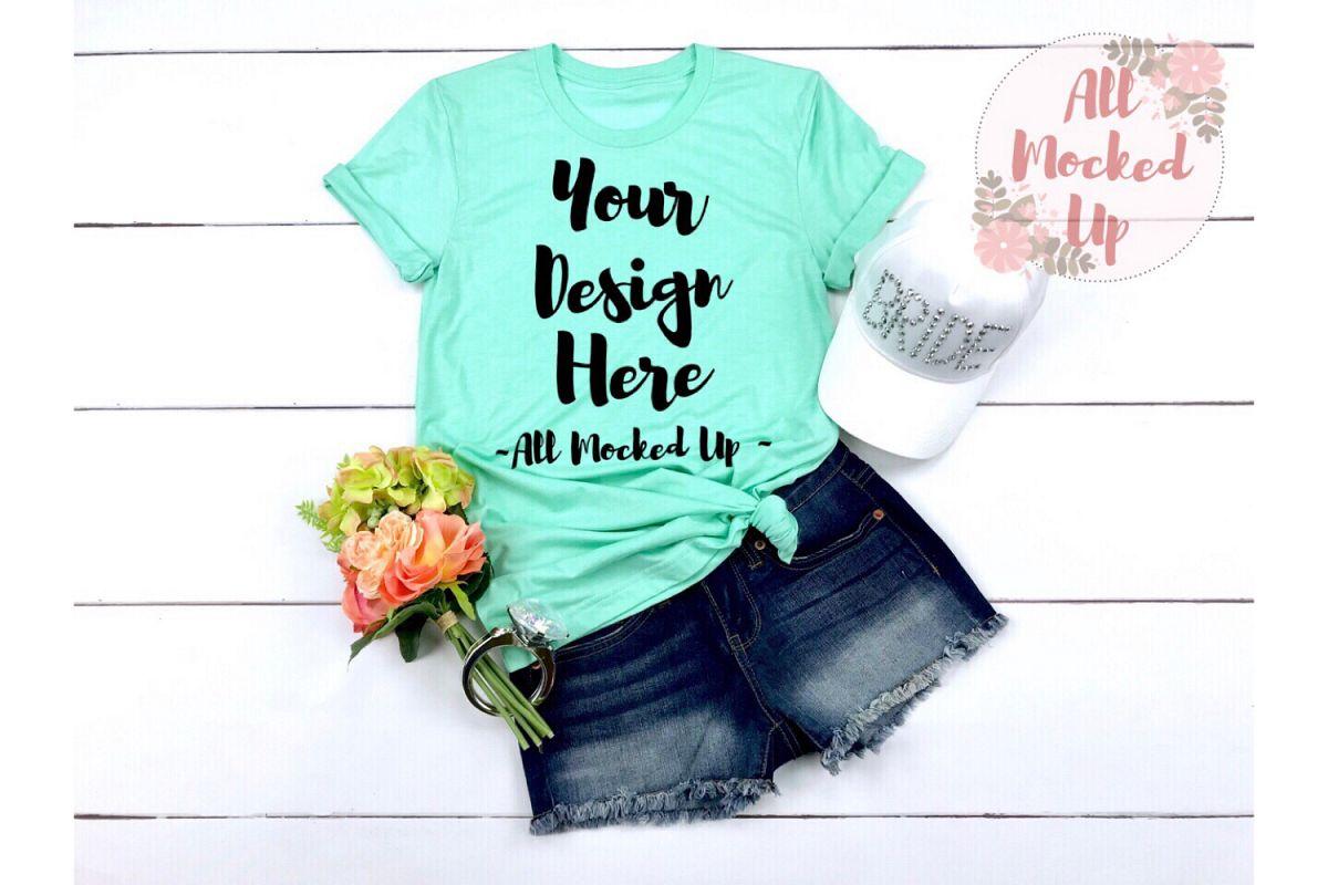 Bella Canvas 3001 / 3413 MINT Wedding Shirt Mock Up - 3/19 example image 1