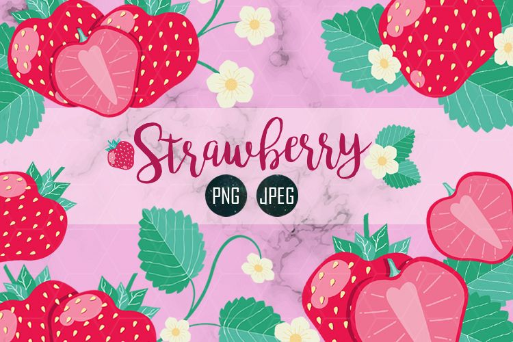 STRAWBERRY SET CLIPART JPEG PNG example image 1