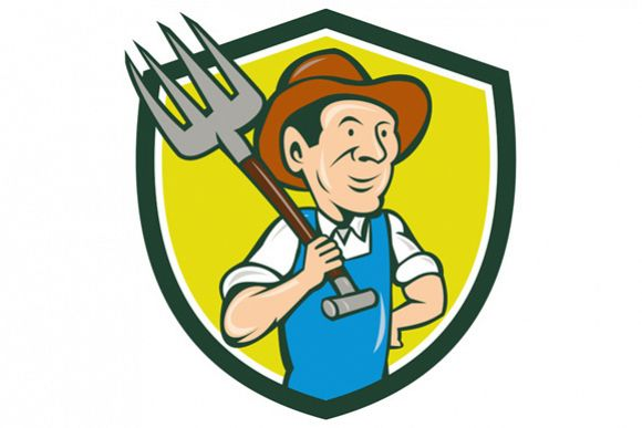 Farmer Holding Pitchfork Shoulder Crest Cartoon example image 1