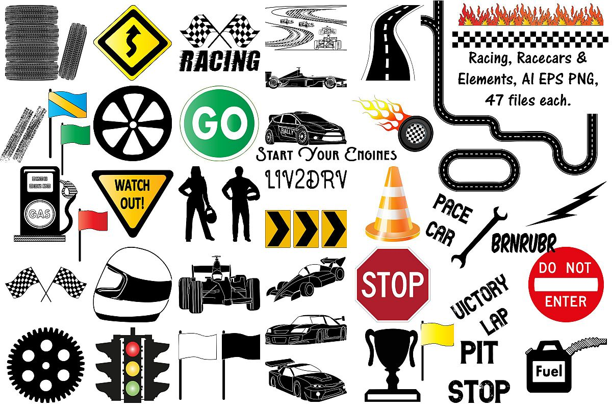 Racing, Racecars & Elements, Vector AI EPS and Png example image 1