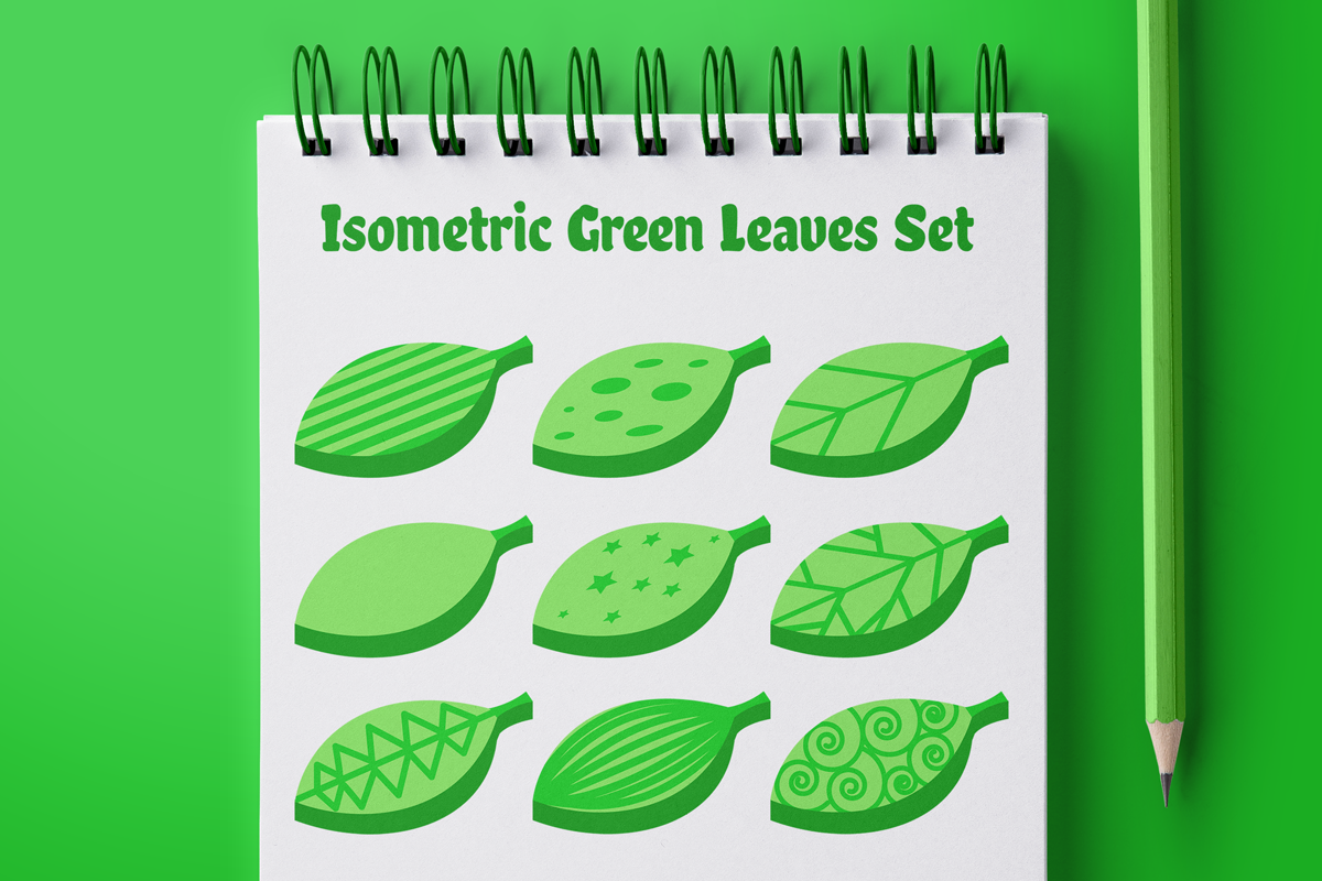 Isometric Green Leaves Set example image 1