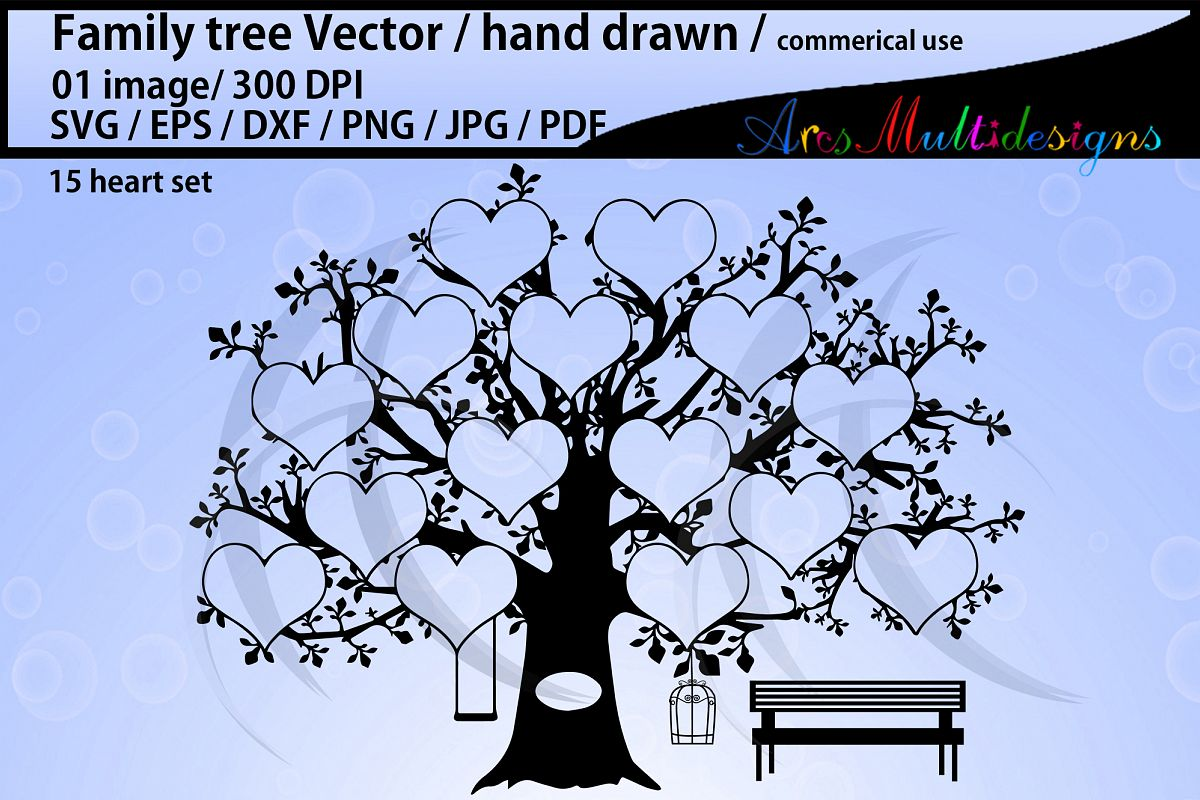 15 hearts family tree silhouette / clipart / vector example image 1