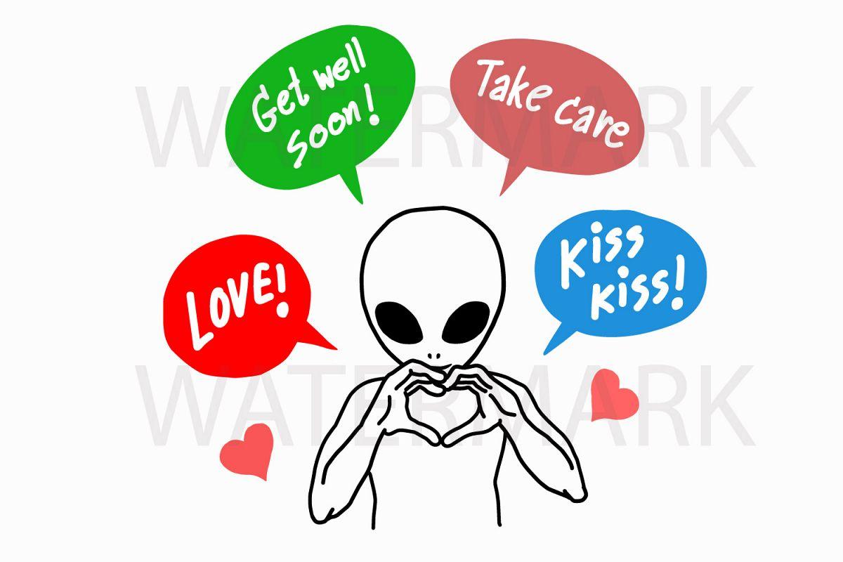 Alien Showing Symbol Of Love Svgjpgpng Hand Drawing