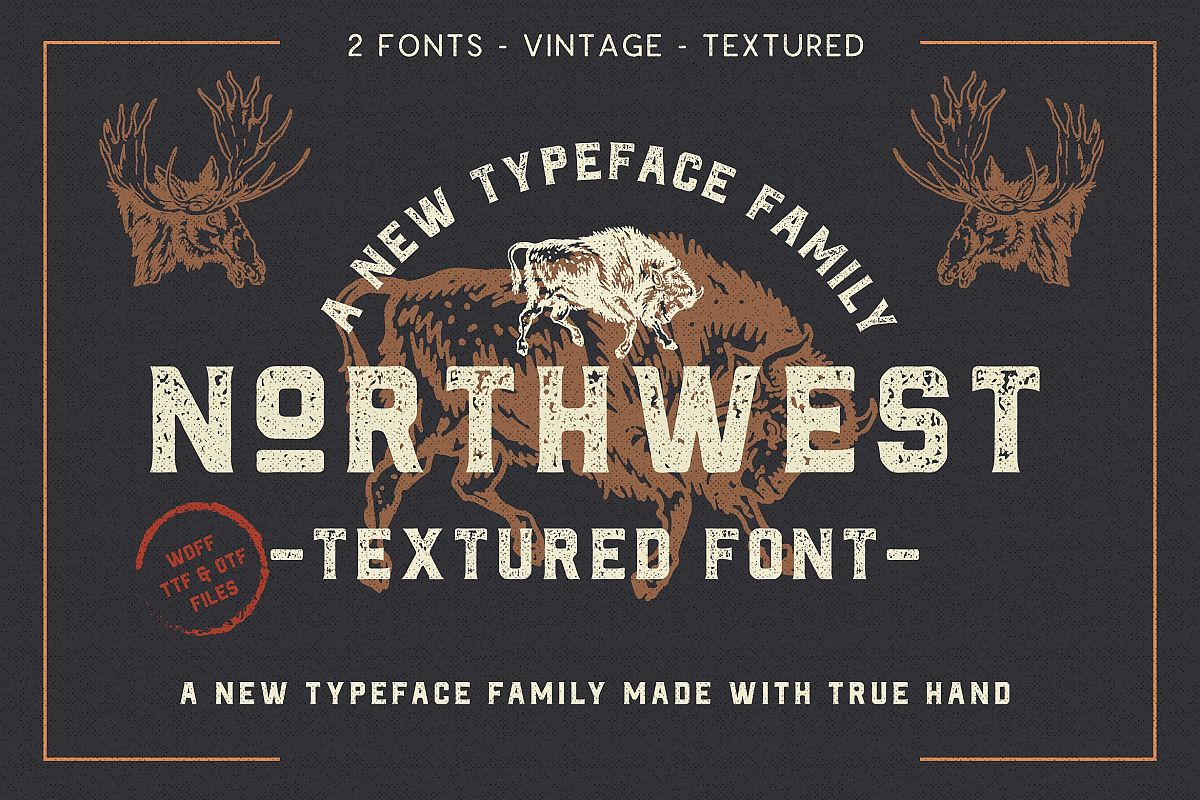 The Northwest - Textured Vintage Type Family example image 1
