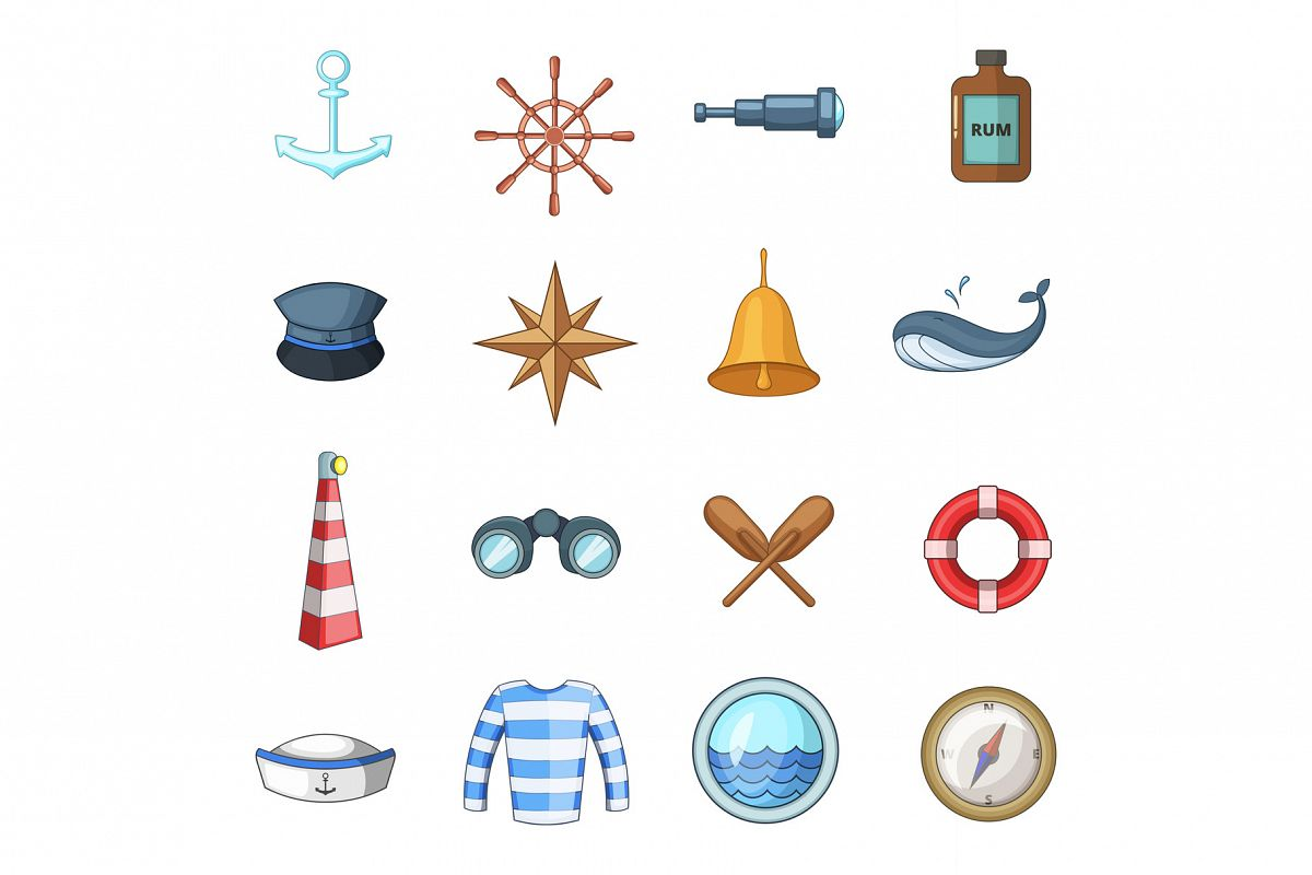 Nautical icons set, cartoon style example image 1