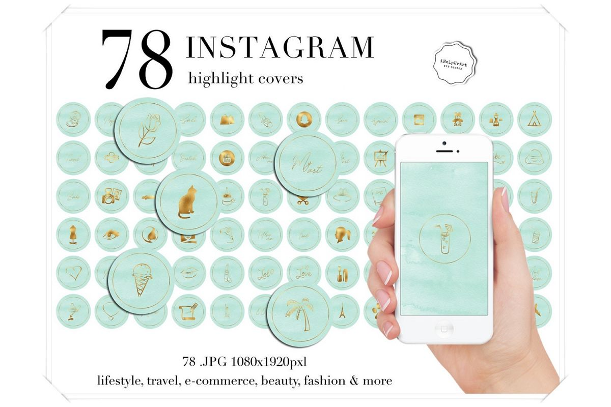 Mint and Gold Instagram Story Highlight Icons example image 1
