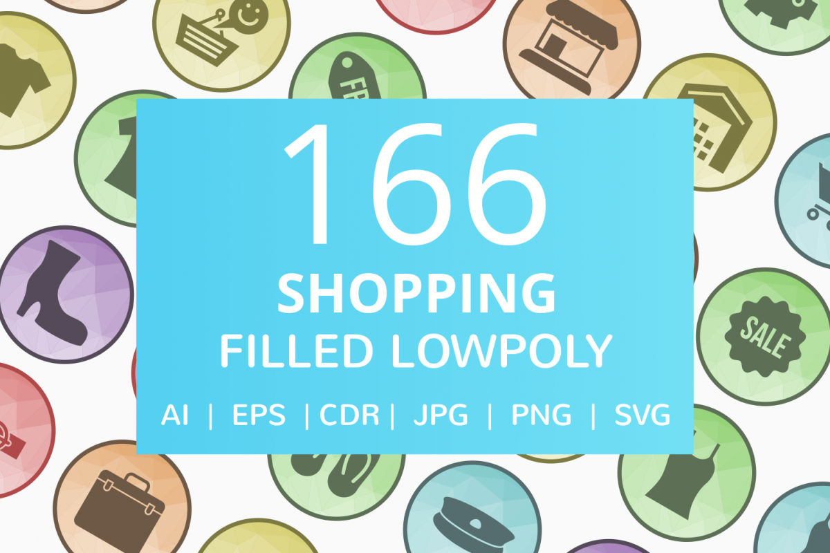 166 Shopping Filled Low Poly Icons example image 1