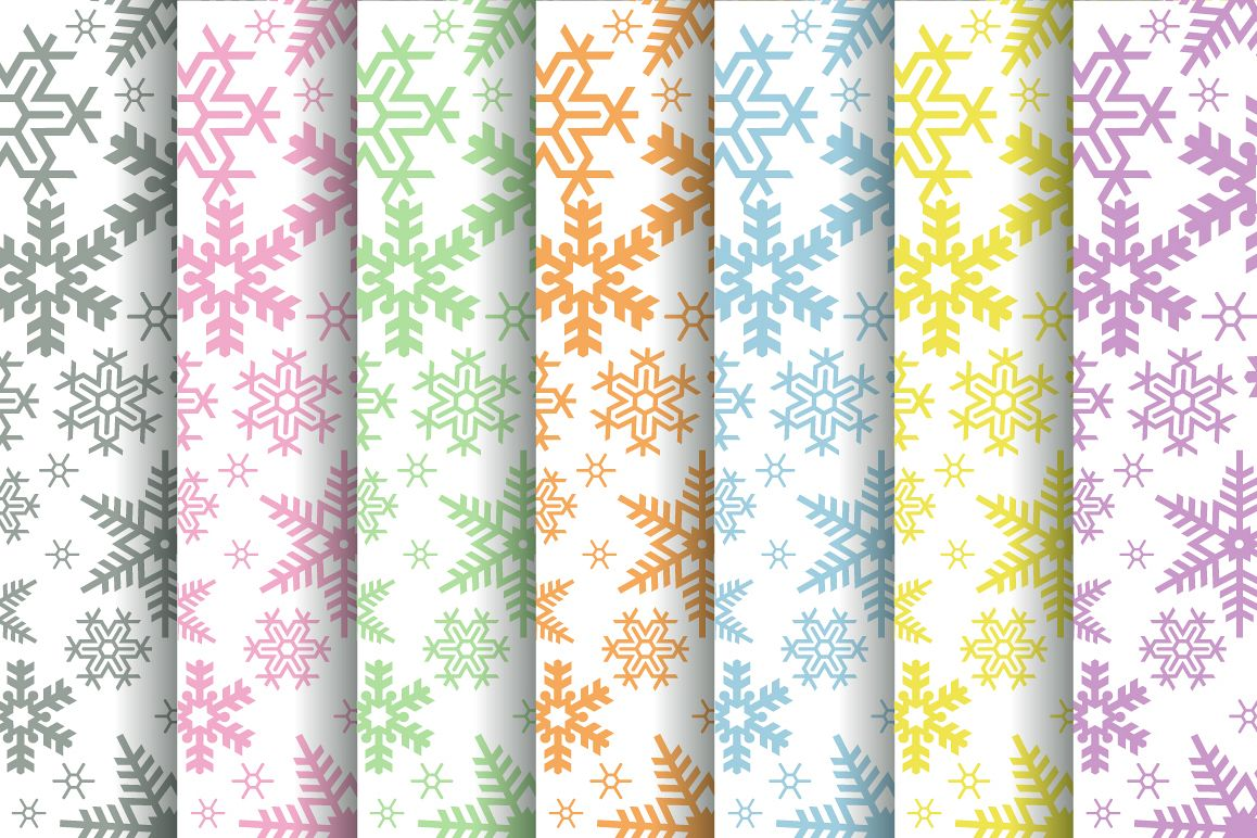 Vector Christmas snowflake paper set seamless pattern example image 1