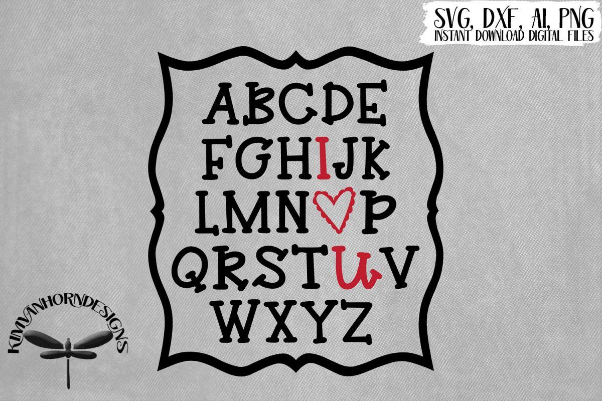 Alphabet I Heart U example image 1
