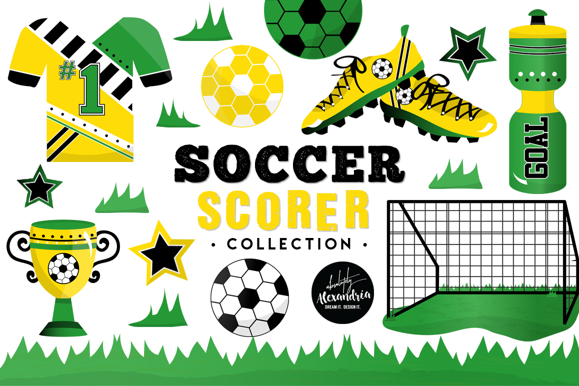 Soccer Scorer Clipart Graphics & Digital Paper Patterns Bundle example image 1