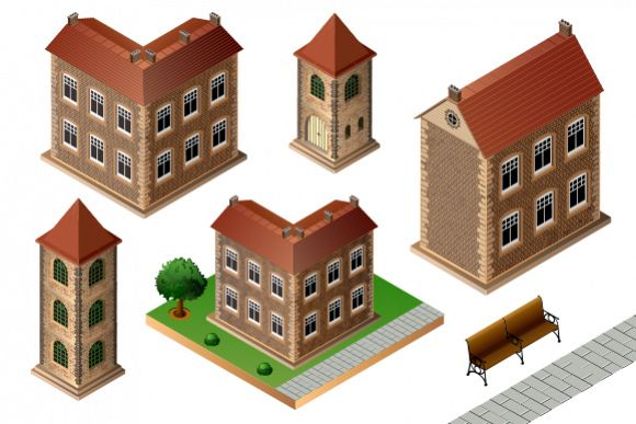 Set of vintage city buildings example image 1