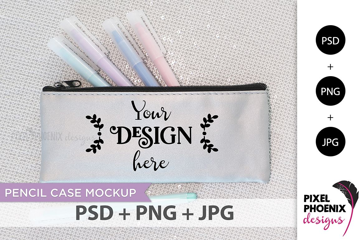 Pencil Case Mockup with pastel pens example image 1
