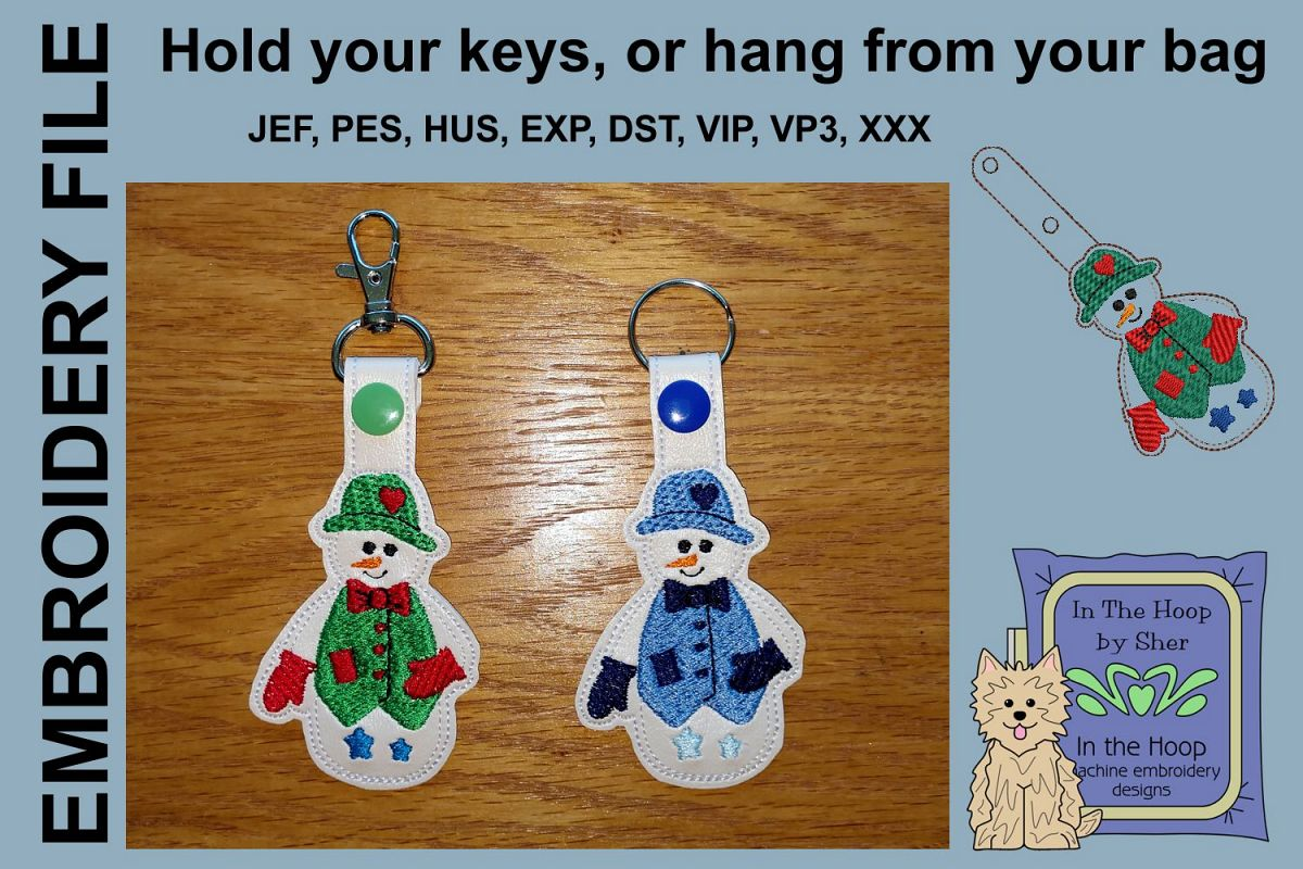 ITH Jolly Snowman Key Fob - Embroidery Design