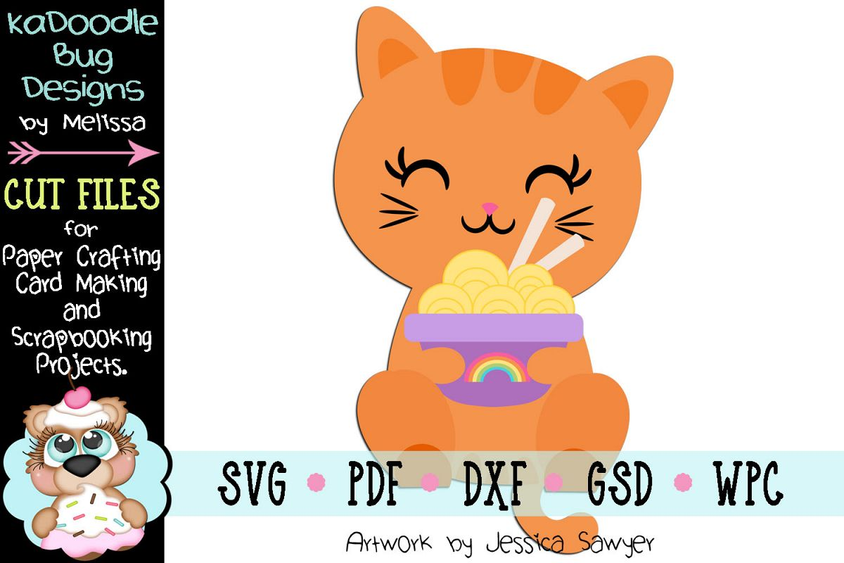 Cat Holding Noodles Cut File - SVG PDF DXF GSD example image 1