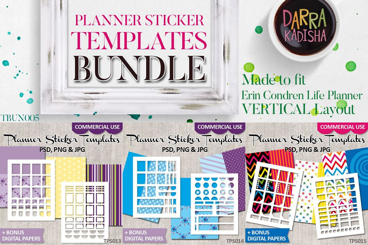Erin Condren Planner Stickers Templates Bundle Vol. 5 example image 1