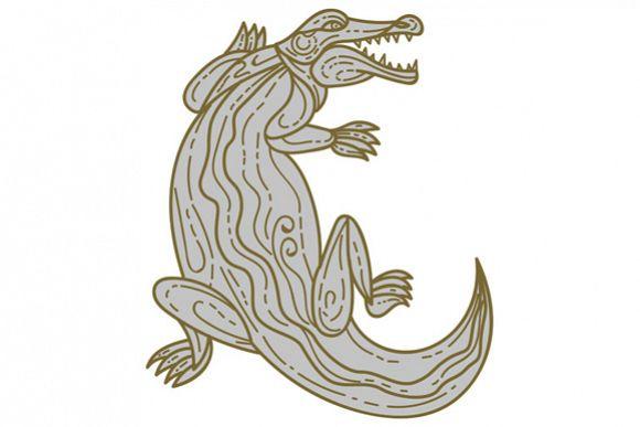 Alligator Climbing Up Mono Line example image 1