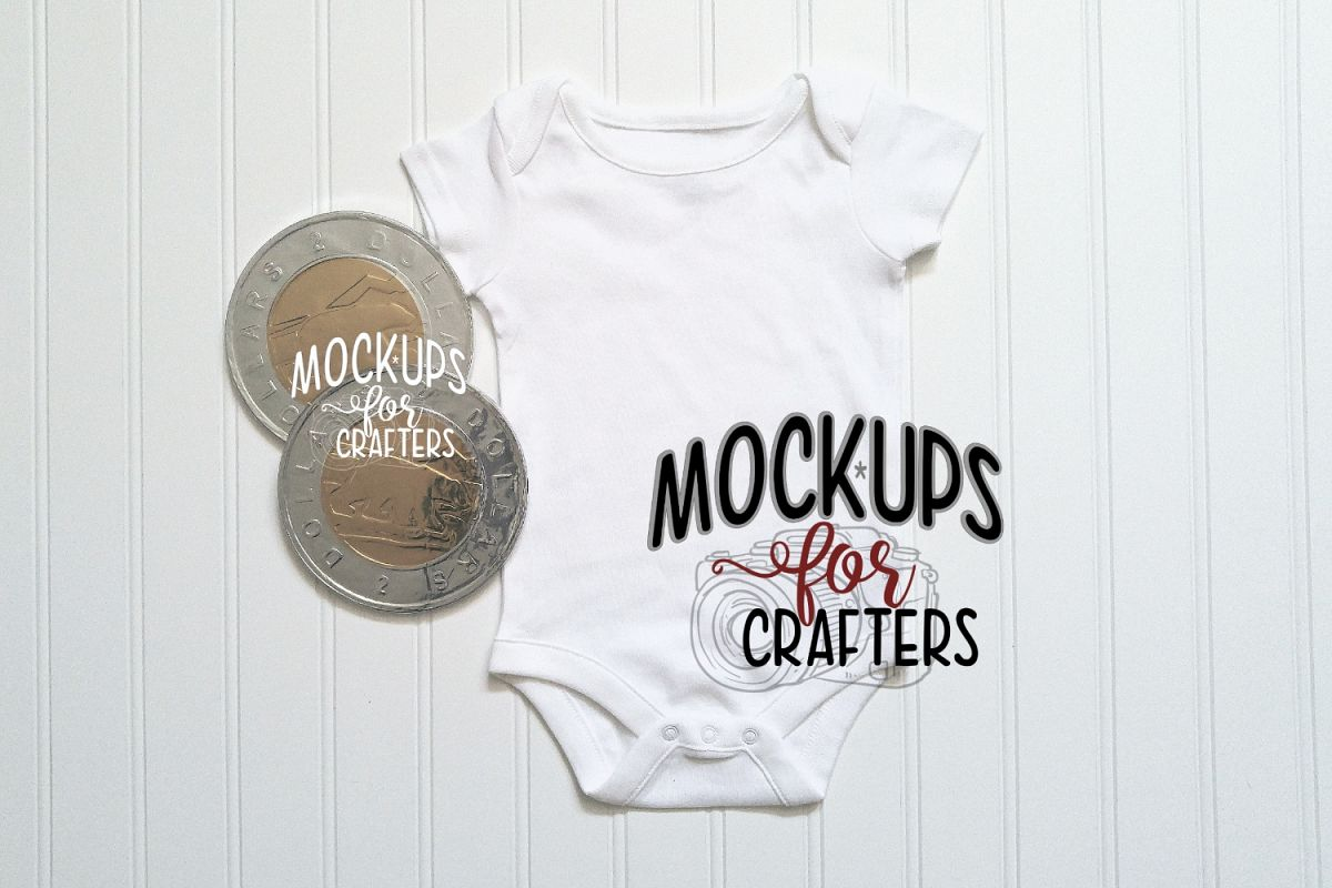 White baby bodysuit with CDN toonies MOCK-UP example image 1