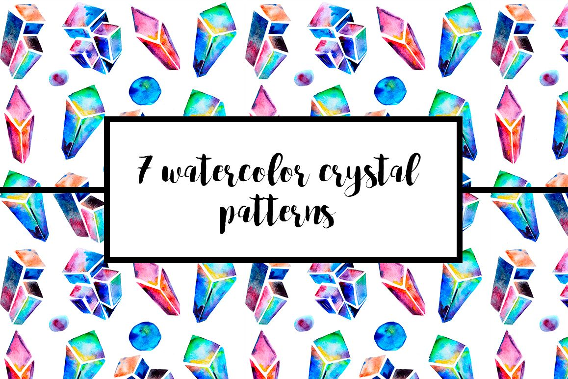 Watercolor crystals patterns example image 1