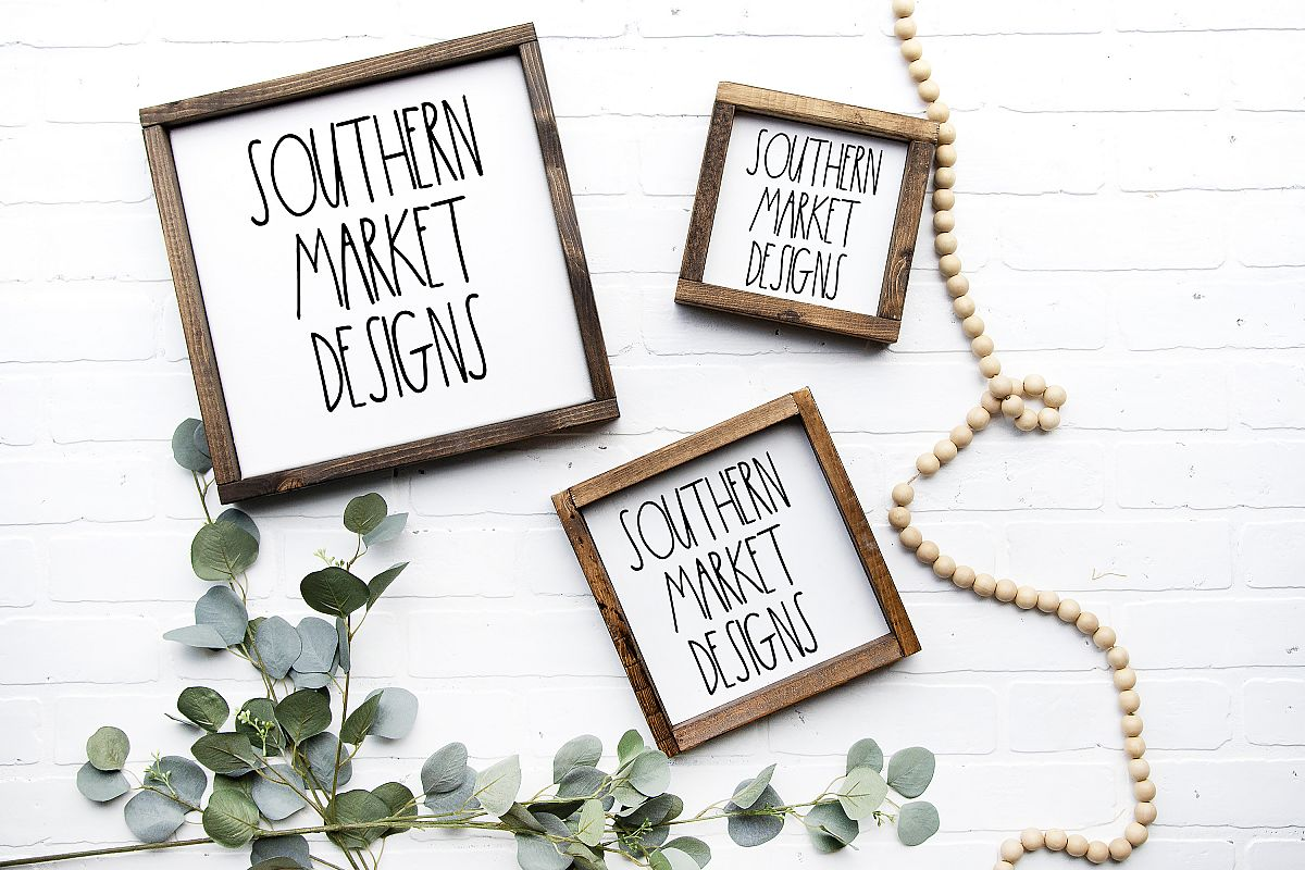 6x6 12x12 10x10 Wood Sign Mock Up Collage Farmhouse Styled P example image 1