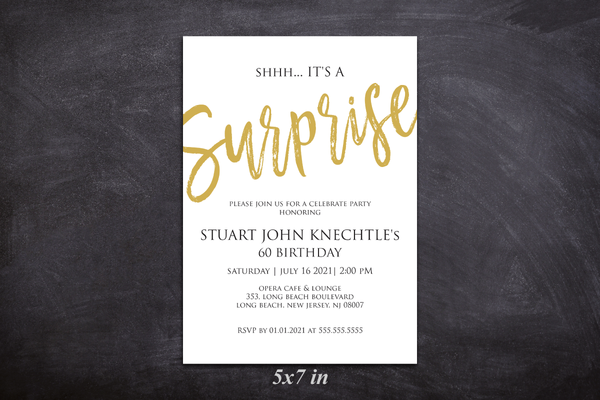 Gold Any Age Shhh Its A Surprise Invitation Template