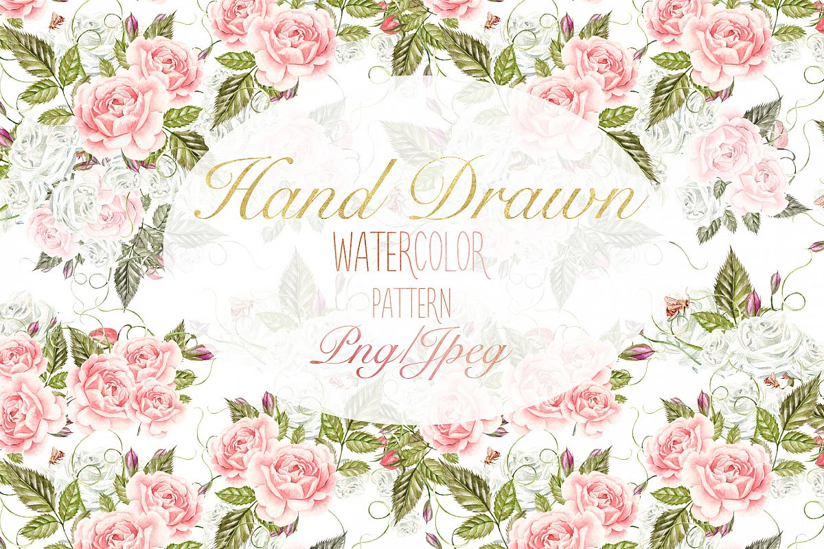 15 Hand Drawn Watercolor PATTERNS example image 1