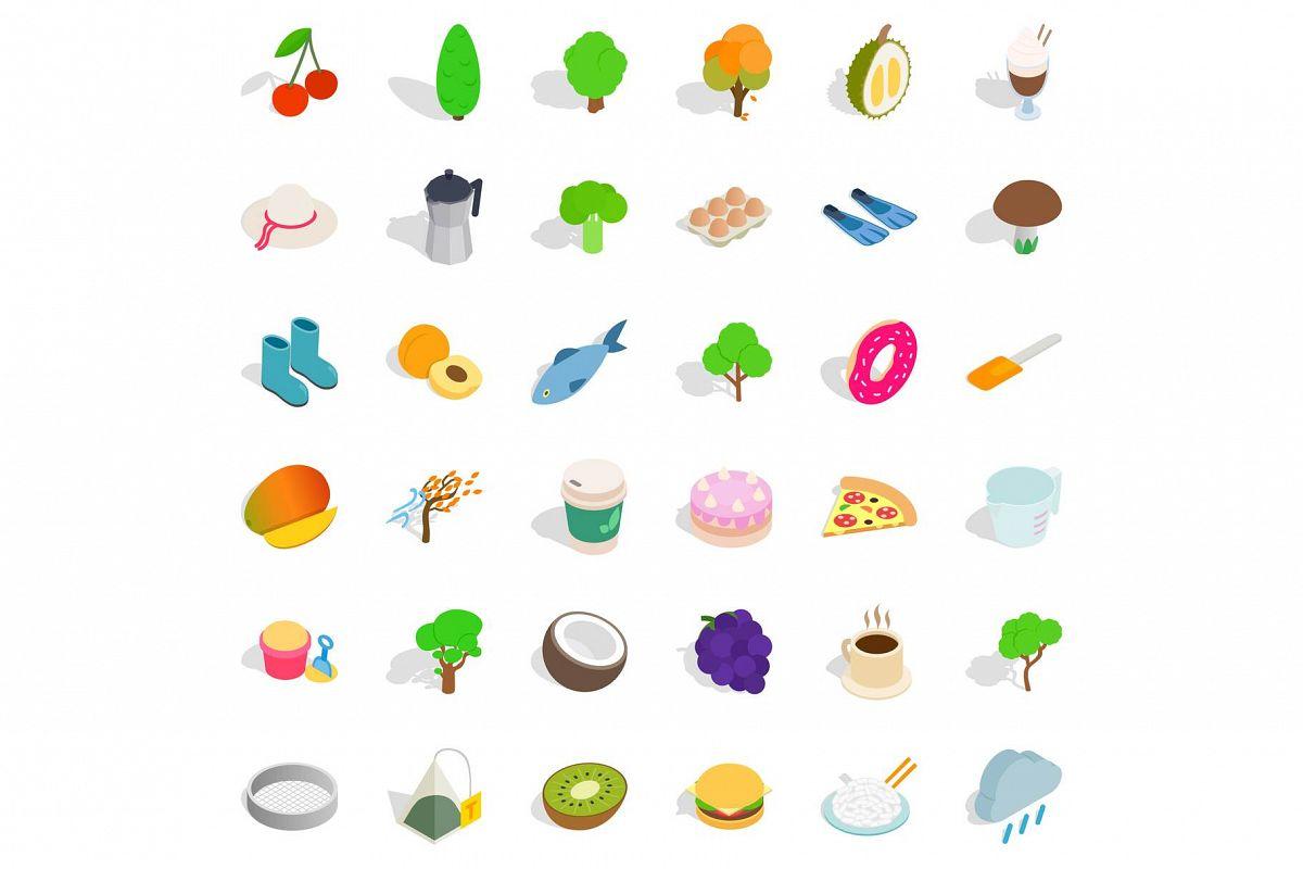 Vegetarian dish icons set, isometric style example image 1