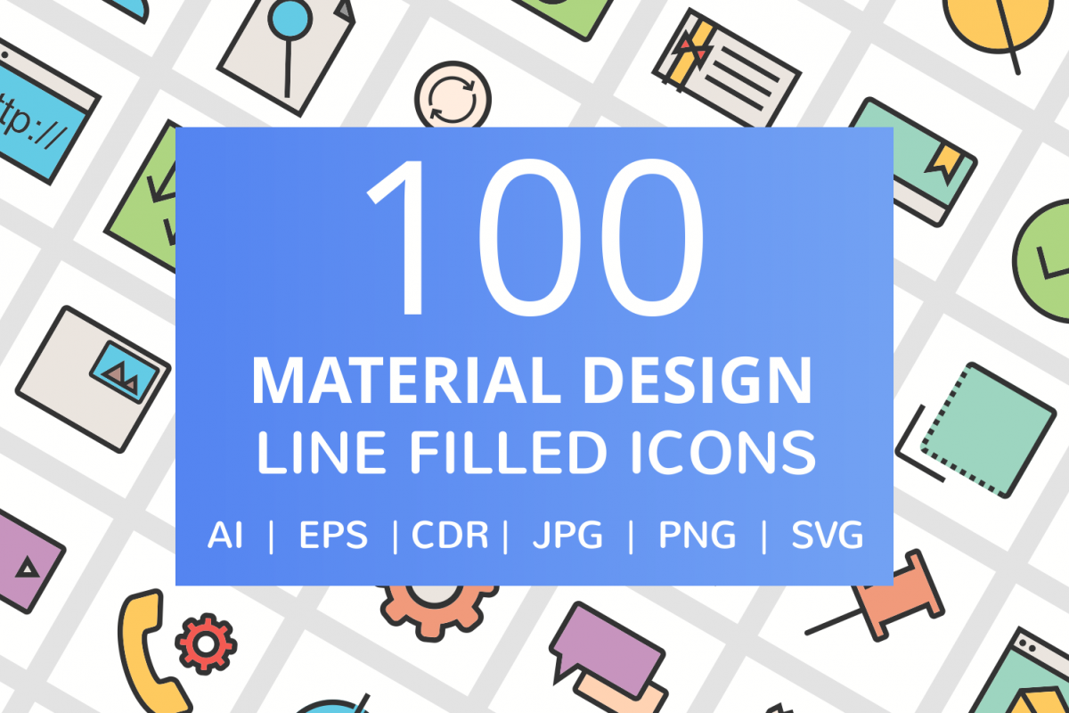 100 Material Design Filled Line Icons example image 1