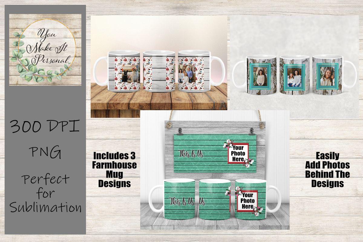 Set of 3 Sublimation Mug Designs, Farmhouse Designs for Mugs example image 1
