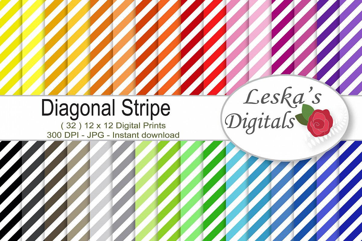 Diagonal Stripe Digital Scrapbook Paper  example image 1