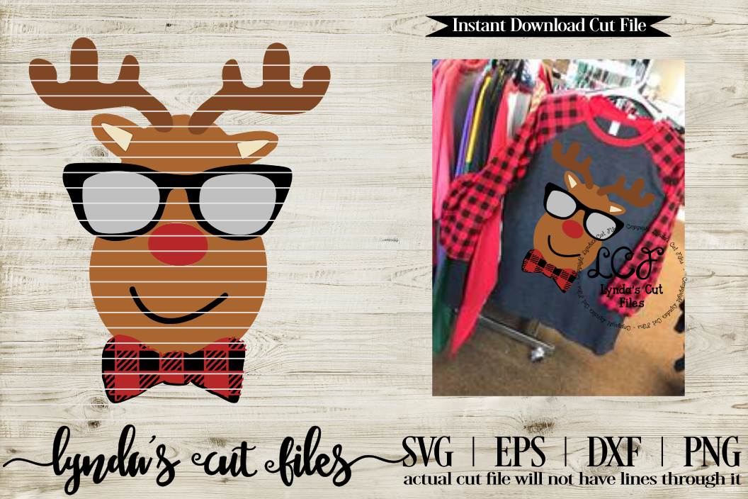 Boy Reindeer//Buffalo Plaid//Christmas//SVG//EPS//DXF example image 1