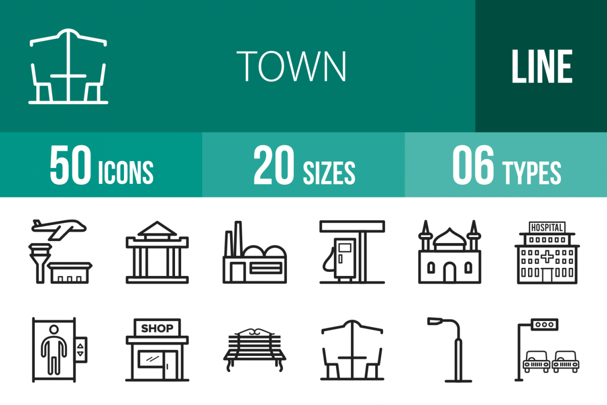 50 Town Line Icons example image 1