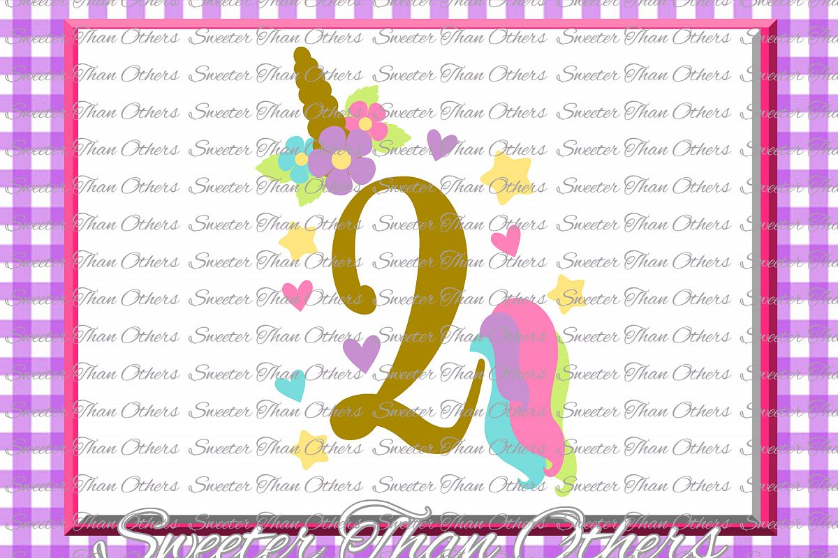 Second Birthday SVG, 2nd Birthday Unicorn svg example image 1
