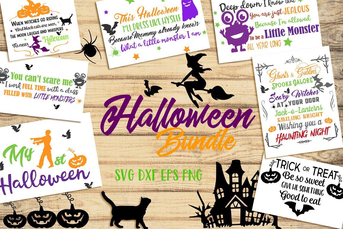 SVG Halloween Bundle -16 Cutting files and 15 Bonus Halloween Elements - Cut Ready SVG for Halloween example image 1
