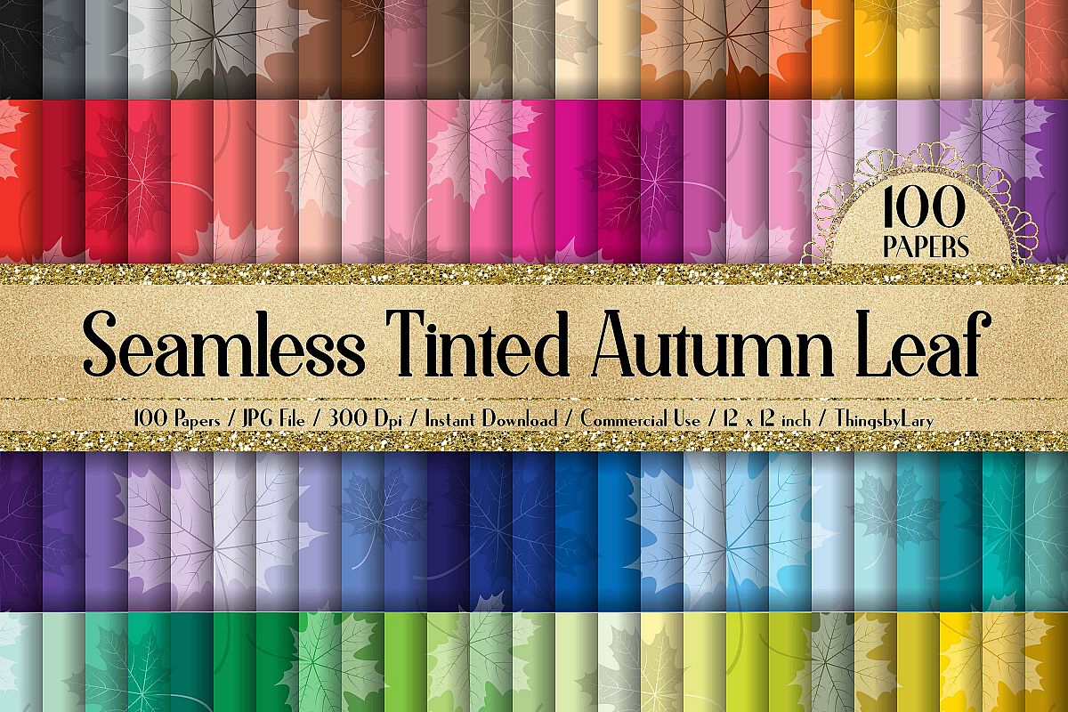 100 Seamless Tinted Autumn Leaves Pattern Digital Papers example image 1