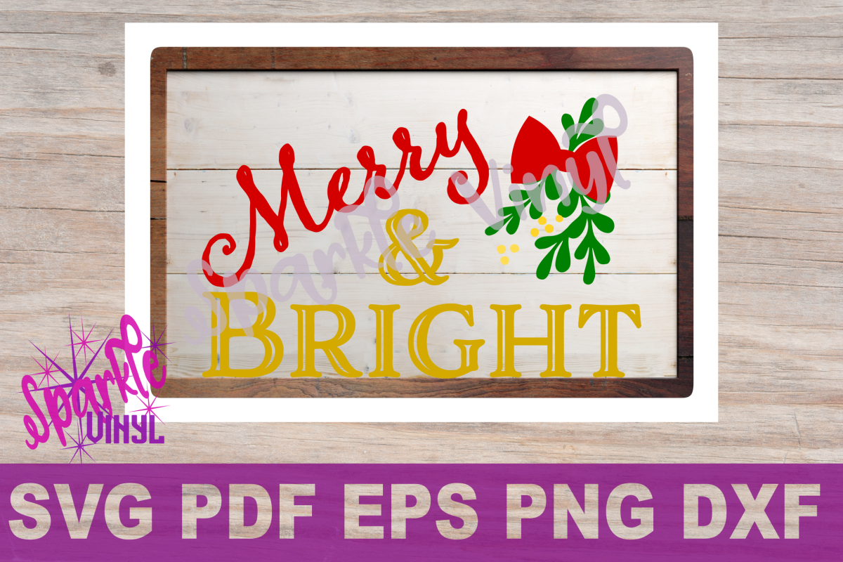 SVG Christmas Merry and Bright Sign Stencil Shirt Tshirt outfit svg file for circut and silhouette dxf eps png pdf  Christmas printable example image 1