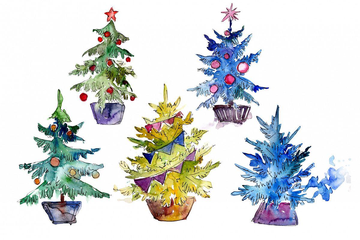 Green Christmas Tree Png Watercolor Set