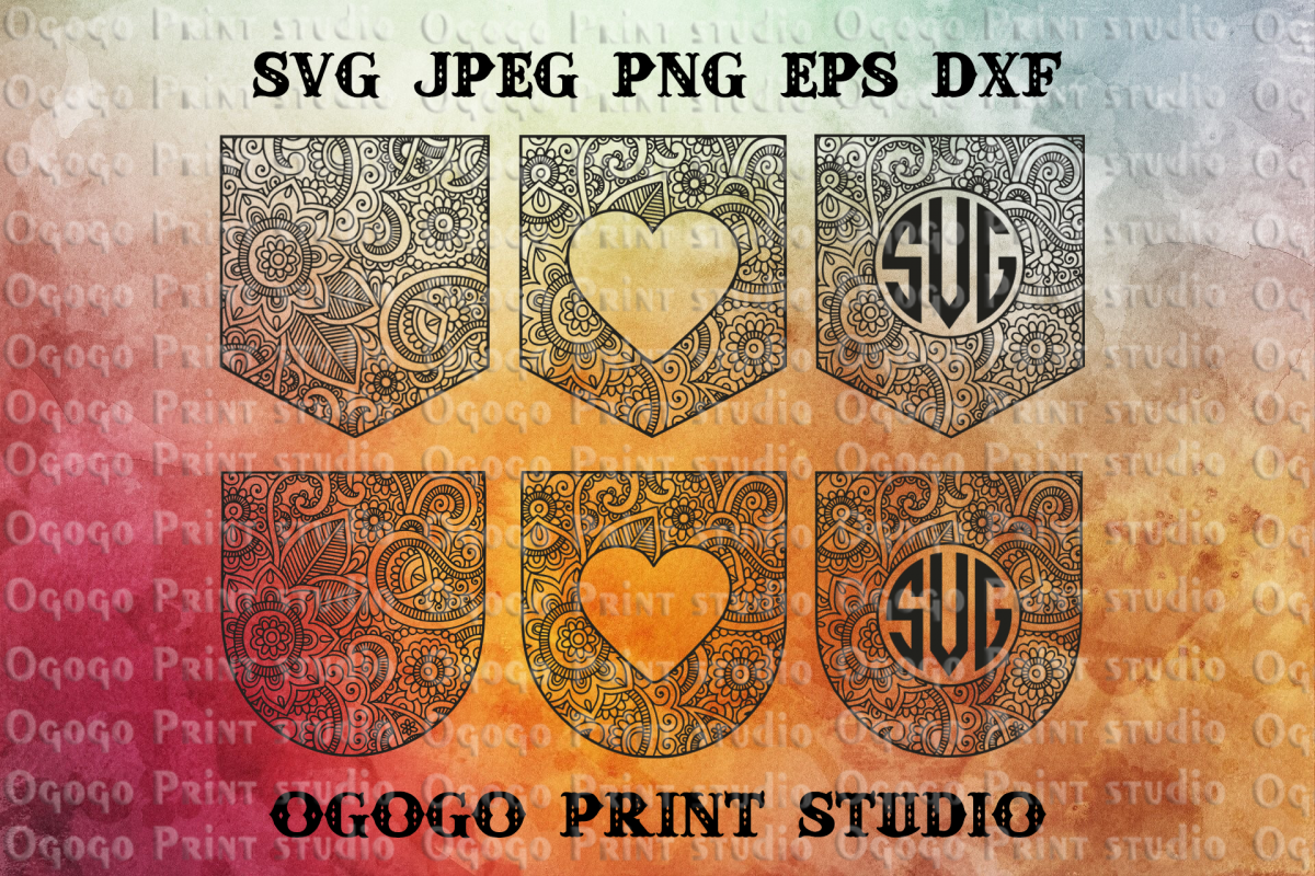 Pocket svg, Mandala svg, Pocket monogram svg, Zentangle SVG example image 1